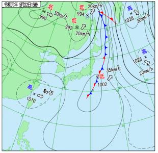 5月22日(水)15時の実況天気図