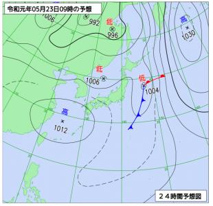 5月23日(木)9時の予想天気図