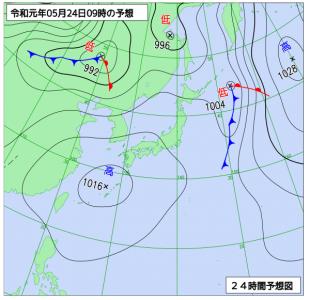 5月24日(金)9時の予想天気図
