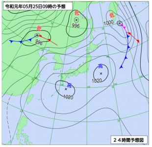 5月25日(土)9時の予想天気図