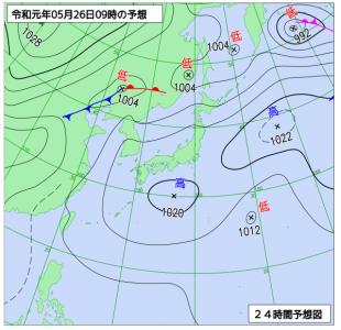 5月26日(日)9時の予想天気図