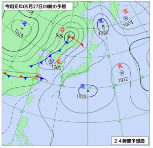5月27日(月)9時の予想天気図
