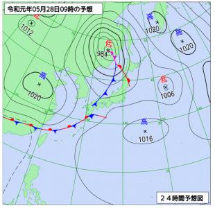 5月28日(火)9時の予想天気図