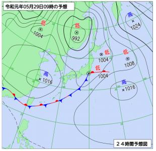 5月29日(水)9時の予想天気図