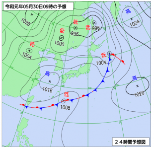 5月30日(木)9時の予想天気図