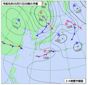 5月31日(金)9時の予想天気図
