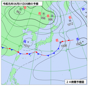 6月1日(土)9時の予想天気図