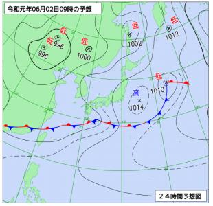 6月2日(日)9時の予想天気図