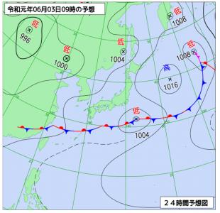 6月3日(月)9時の予想天気図