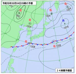 6月4日(火)9時の予想天気図