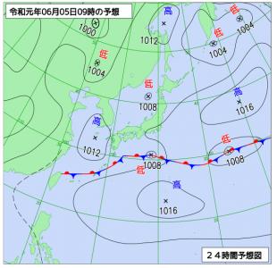 6月5日(水)9時の予想天気図