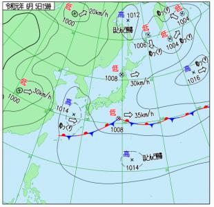 6月5日(水)15時の実況天気図