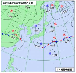 6月6日(木)9時の予想天気図