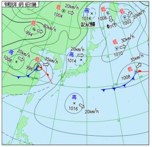 6月6日(木)15時の実況天気図