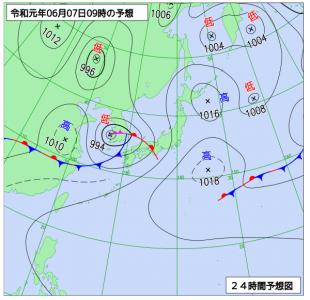 6月7日(金)9時の予想天気図