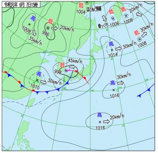 6月7日(金)15時の実況天気図