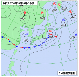 6月8日(土)9時の予想天気図