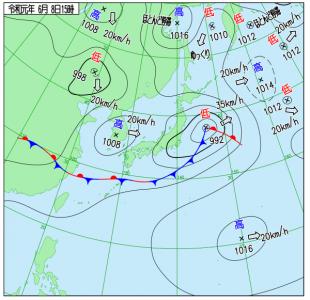 6月8日(土)15時の実況天気図