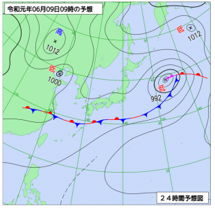 6月9日(日)9時の予想天気図