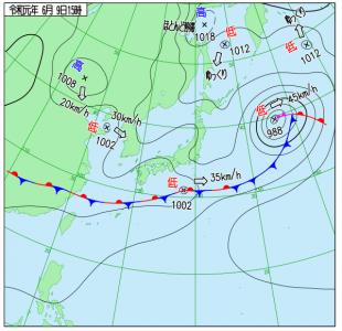 6月9日(日)15時の実況天気図