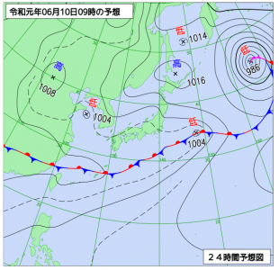 6月10日(月)9時の予想天気図