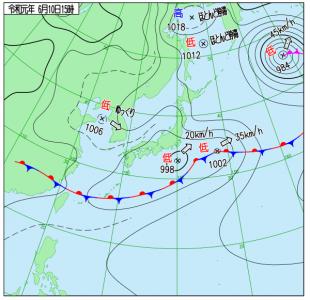 6月10日(月)15時の実況天気図