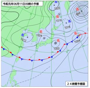 6月11日(火)9時の予想天気図