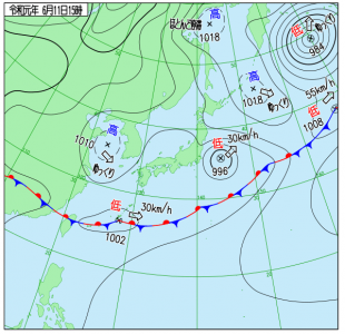 6月11日(火)15時の実況天気図