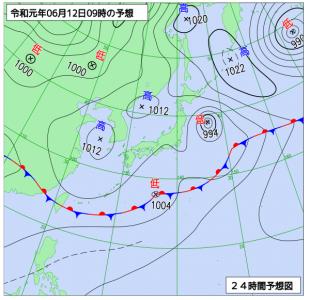 6月12日(水)9時の予想天気図
