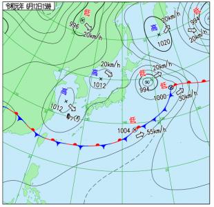 6月12日(水)15時の実況天気図