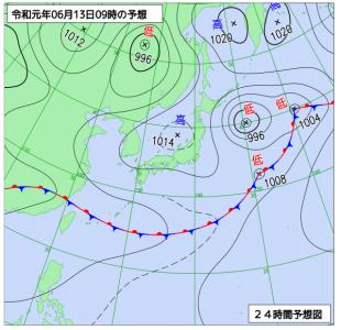 6月13日(木)9時の予想天気図