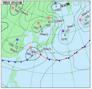 6月14日(金)15時の実況天気図
