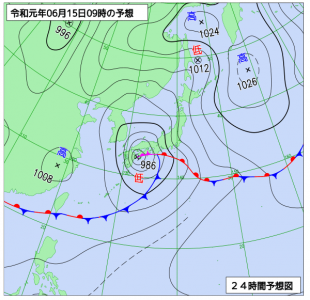 6月15日(土)9時の予想天気図