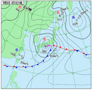 6月15日(土)15時の実況天気図