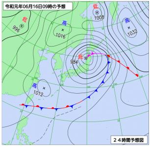 6月16日(日)9時の予想天気図