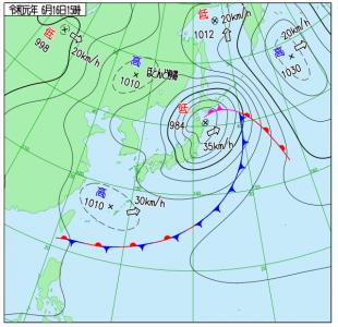 6月16日(日)15時の実況天気図