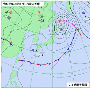 6月17日(月)9時の予想天気図