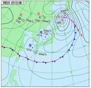 6月17日(月)15時の実況天気図