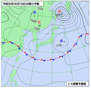 6月18日(火)9時の予想天気図