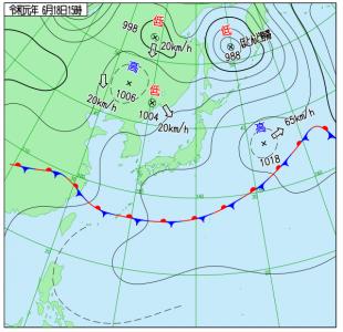 6月18日(火)15時の実況天気図