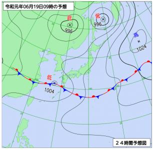 6月19日(水)9時の予想天気図