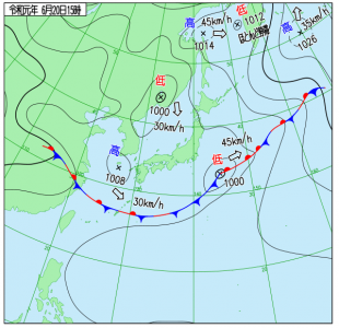 6月20日(木)15時の実況天気図
