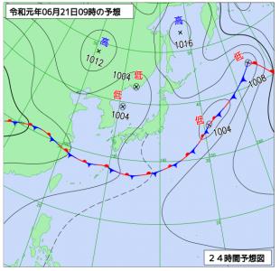 6月21日(金)9時の予想天気図