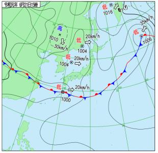 6月21日(金)15時の実況天気図