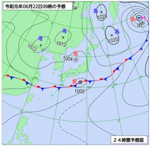 6月22日(土)9時の予想天気図