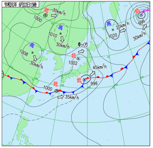 6月22日(土)15時の実況天気図