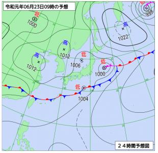 6月23日(日)9時の予想天気図