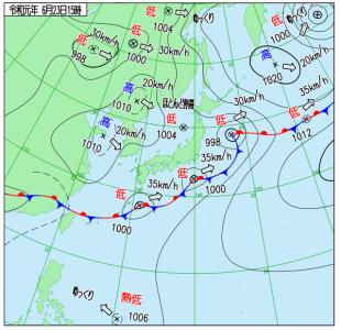 6月23日(日)15時の実況天気図