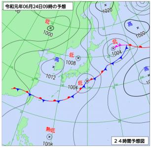 6月24日(月)9時の予想天気図