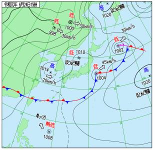 6月24日(月)15時の実況天気図